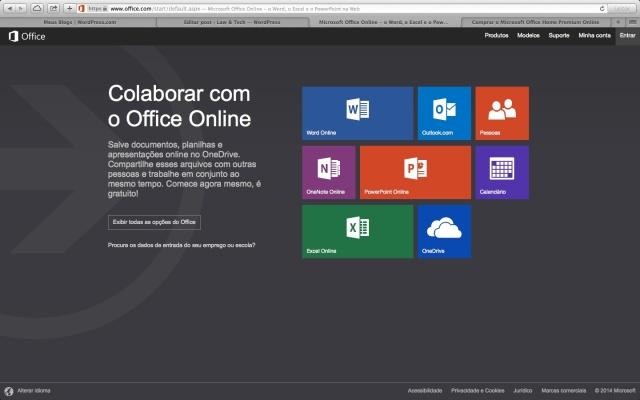 Página inicial do site do Microsoft Office Online.